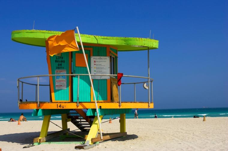 Lifeguard station, miami beach, florida, america, usa