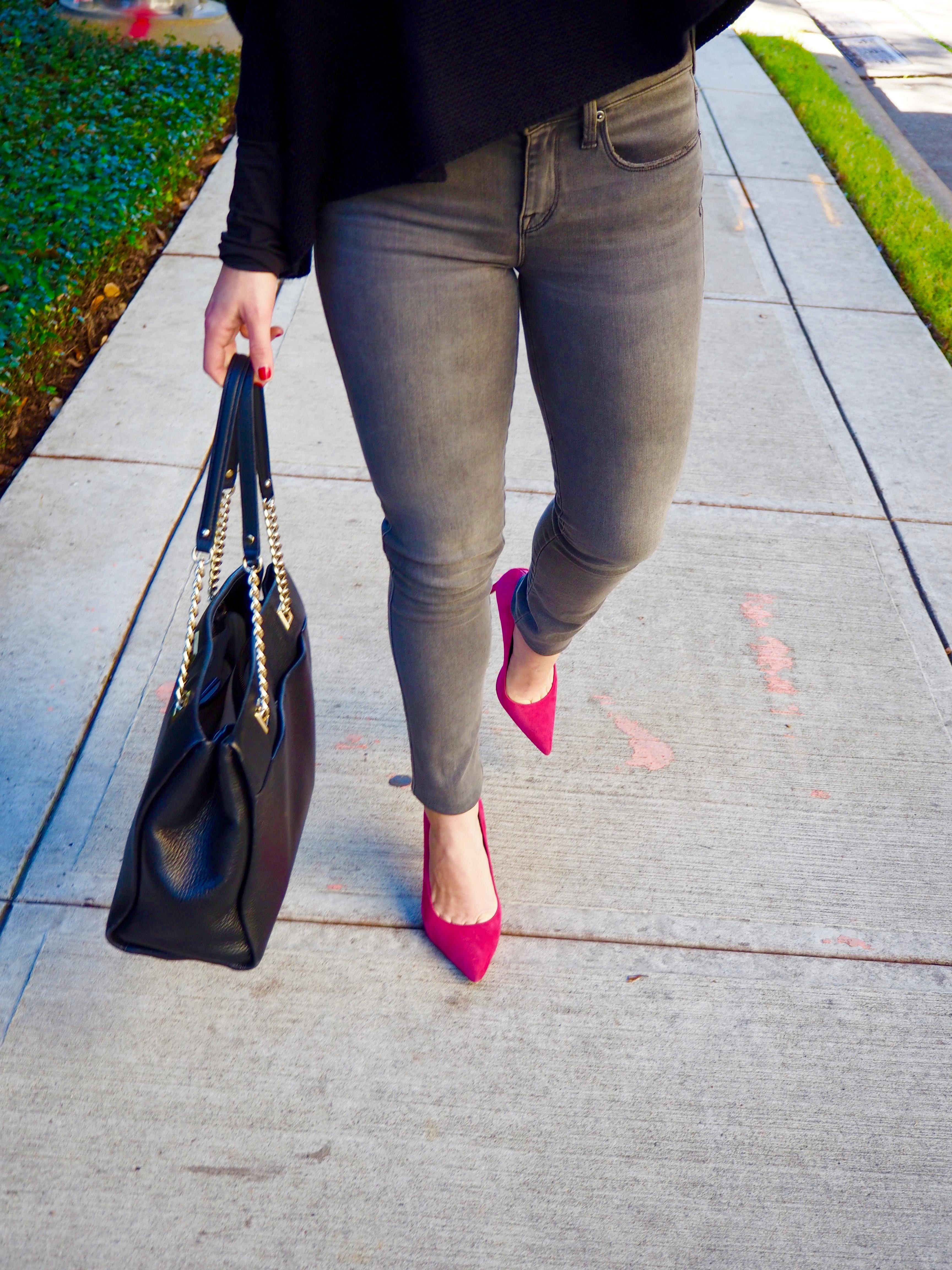 Gray Jeans & Pink Heels