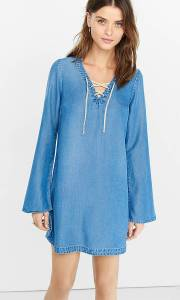 denim laceup dress