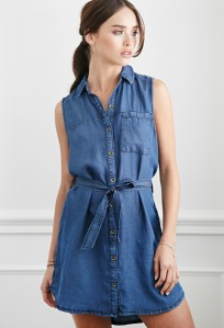 Forever 21 Belted Chambray Shirt Dress