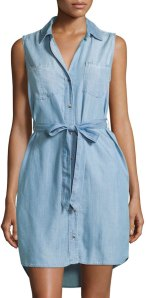 Velvet Heart Rose Sleeveless Beltless Shirtdress