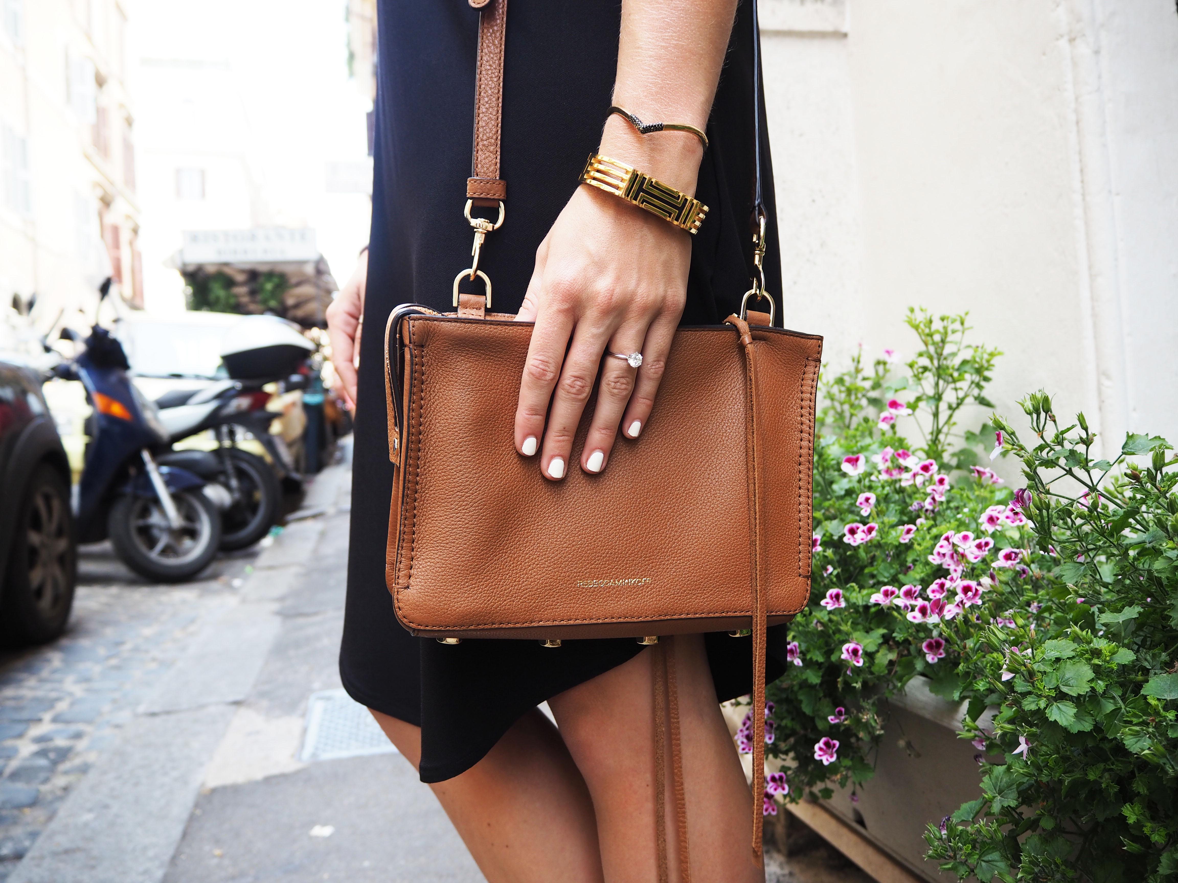 brown rebecca mink off purse