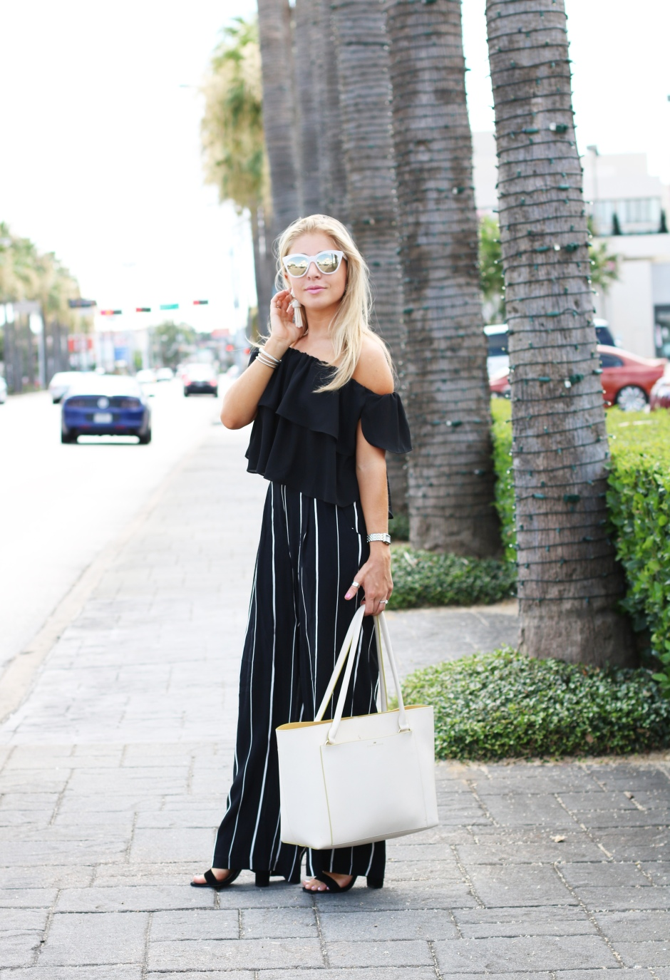 stripe wide leg pants - LA Style