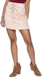 pink suede skirt outfit