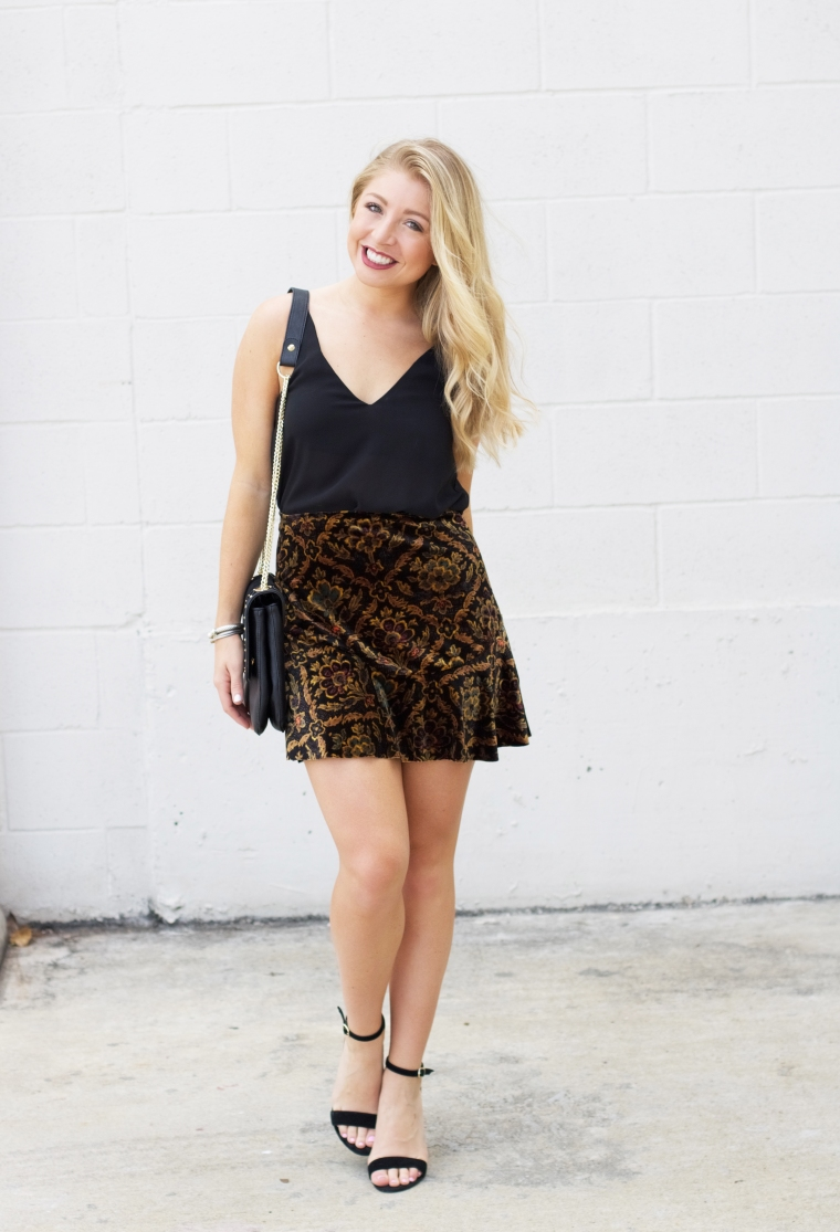 Velvet Skirt - Urban Outfitters - Fall Fashion - LifetoLauren