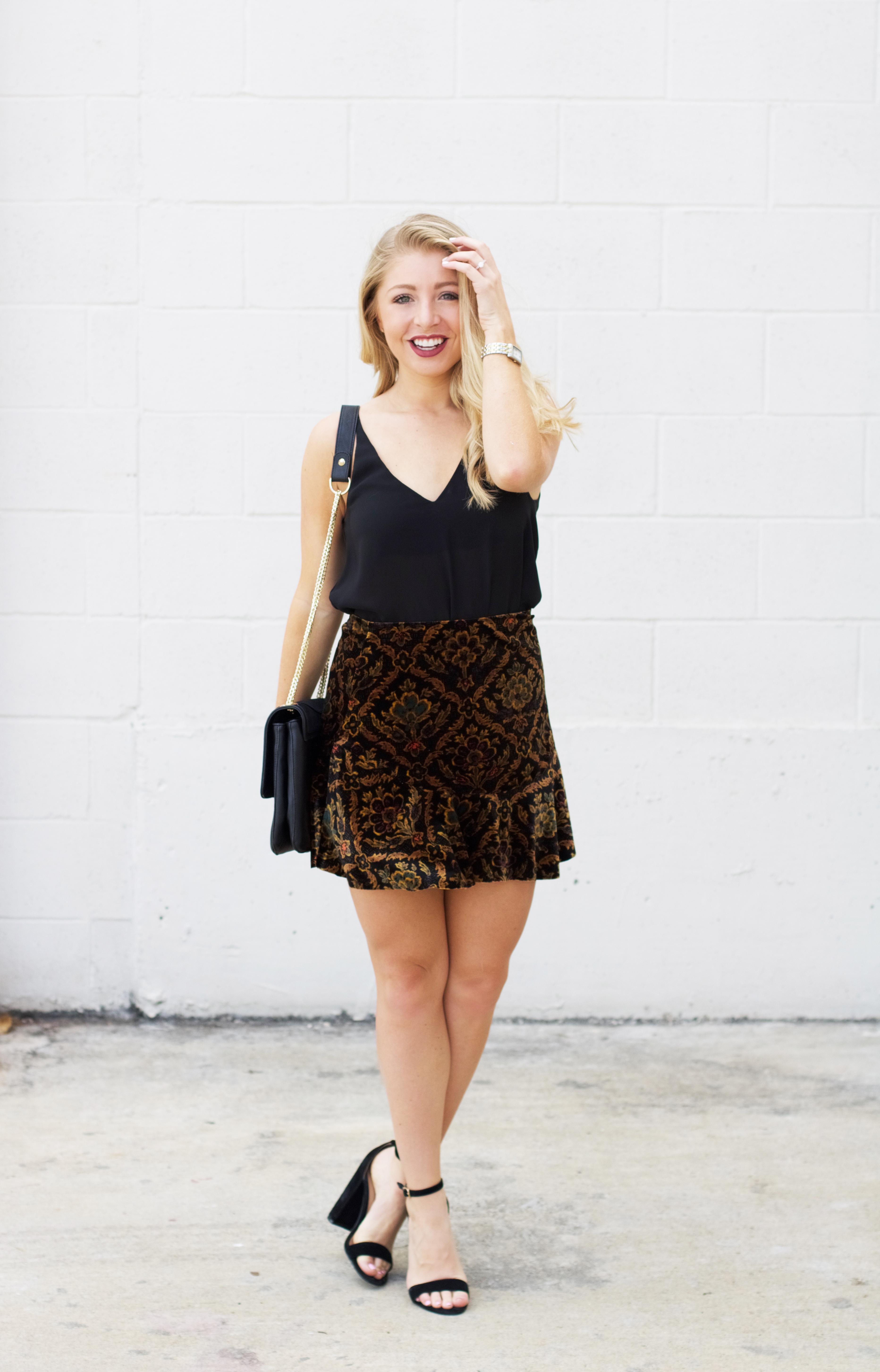 Velvet Skirt - Urban Outfitters - Fall Fashion - LifetoLauren